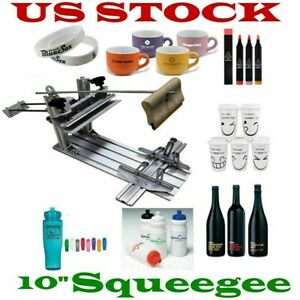 Manual Cylinder Screen Printing Machine 10 Squeegee For Pen Cup Mug bottle