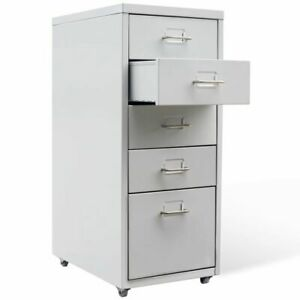 Hanging File Cabinet With 5 Drawers Gray Metal