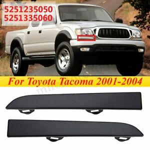 Pair Front Bumper Headlight Lamp Filler Trim Panel For Toyota Tacoma 2001 2004