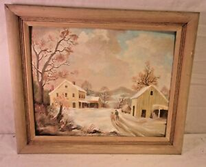 Vintage Mid Century Oak Frame With Painting 20x24 Holds 16x20 Molding 2 1 2