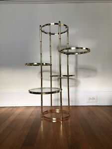 Hollywood Regency Faux Bamboo Plant Stand Polished Brass