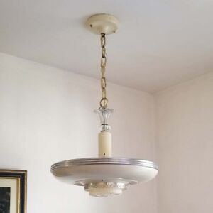 435b Vintage Antique 30 S Streamline Art Deco Ceiling Light Fixture Chandelier