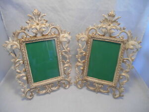 Matching Pair Of Picture Frames Vintage Metal Rococo Art Nouveau W Easel Stands