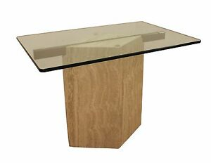 Mid Century Modern Travertine Cantilever Glass Top End Table