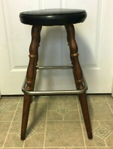 Vintage Cherry Wood Leather Top Bar Counter Kitchen Stool 28 Tall Rare