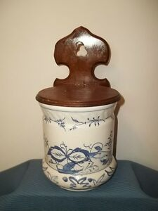 Large 12 5 Blue White Stoneware Wood Wall Mount Salt Box With Wood Lid 1900