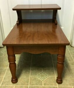 Mid Century Danish Modern 2 Tier End Table Solid Walnut 1960 S Nice
