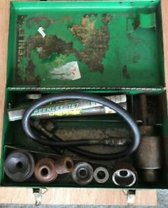 Greenlee 7306 Knockout Punch Driver With 3 Dies With 767 Manual Pump