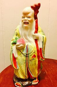 Estate Fresh Vtg Chinese Porcelain Famille Rose Immortal Sau Statue Marked