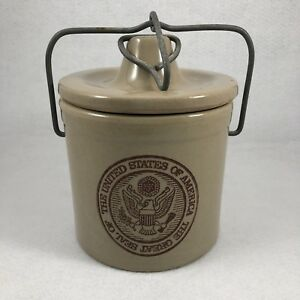 Vintage Cheese Butter Crock Great Seal Of United States Of America 13