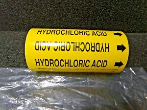 30 Ft Brady Pipe Marker Hydrochloric Acid Yel For Pipes 3 4 Od To 2 3 8 Od dc