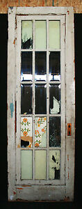 30 X89 Antique Vintage French Wood Wooden Door Windows 15 Beveled Glass Lites