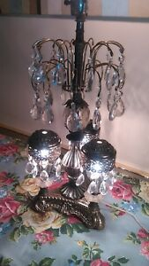Vintage Hollywood Regency Ornate Spelter Metal Decorative Lamp Glass Prisms