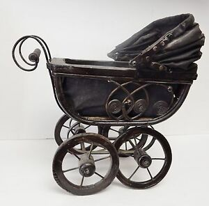 Vintage Doll Carriage Stroller Pram Baby Buggy Wicker Metal Canvas Wood 13 X 13