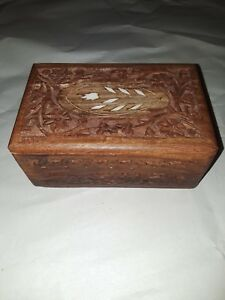 Vtg Hand Carved Wood Floral Jewelry Small Wooden Trinket Box