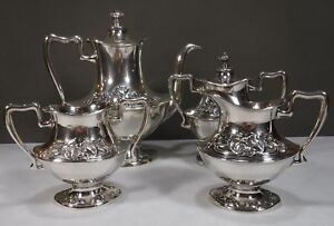 Forbes Silver Tea Coffee Set Art Nouveau Style Not Monogrammed Embossed Tulips