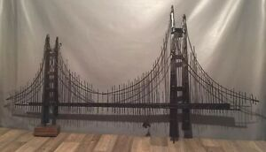 Mid Century Golden Gate Bridge Brutalist Metal Wall Art Sculpture Liberty