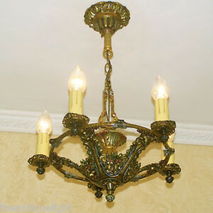 684 Vintage 20s 30s Ceiling Light Lamp Fixture Re Wired Art Nouveau Polychrome