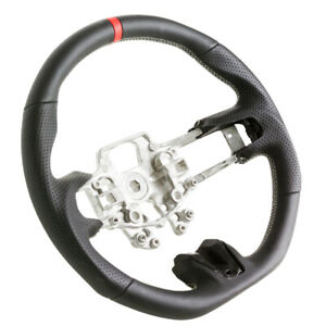 Flat Bottom Steering Wheel For 15 16 17 Ford Mustang Black Leather Silver Stitch