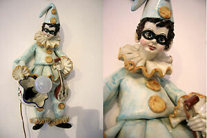 Rare Mid Century Pulcinella Figurine Ceramic Wall Light Sconce Clown Venetian