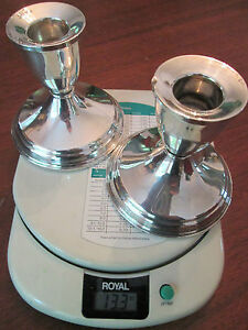 Pair Vintage Sterling Silver Candlesticks 13 3 Ounces Lovely
