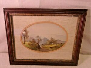 Antique Victorian Walnut Frame With Watercolor 11x14 Holds 9x12 Molding 1 1 4