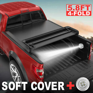 5 8ft 4 Fold Truck Bed Tonneau Cover For 2015 2018 Chevrolet Silverado 1500