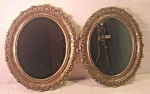 Pair Vintage Cast Resin Oval Frames With Mirrors 13 1 2 X 16 Mirrors 10x12
