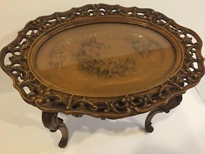 Antique Figural Carved Coffee Table W Chariot Lions Tray Glass Top C 1930