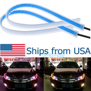 2x 60cm Led Light Strips Tube Switchback Red Amber Flexible Drl Turn Signal