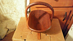 Vintage Teak Ruffles Wood Wooden Folding Basket Bowl