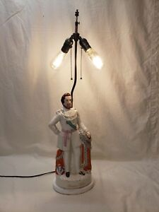 Antique Staffordshire Prince Of Wales Porcelain Table Lamp 2 Light Rewired