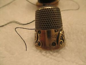 Simon Brothers Thimble 1800s Sterling Silver Gold Overlay Rim 10