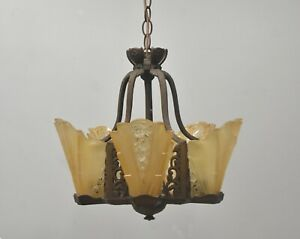 Antique Art Deco Five Slip Shade Chandelier
