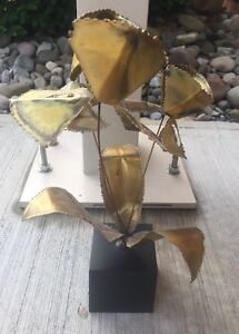 William Friedle Usa Signed Torched Copper Brass Sculpture Enamel Flowers