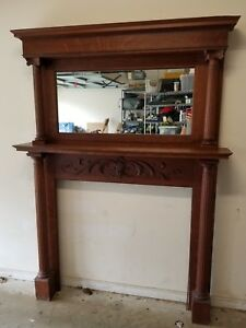 Antique Victorian Oak Wood Fireplace Mantle With Mirror