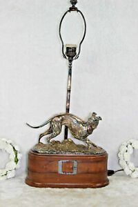 Mid Century 1970 Bronze Silver Patina Greyhound Whippet Dog Lamp Wood Base