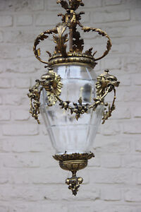 Huge Antique Bronze French Empire Lion Heads Crystal Glass Chandelier Lantern