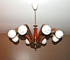 Mid Century Scandinavian Teak Wood Brass 8 Arms Opaline Glass Chandelier 60s