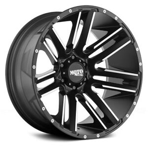 20x10 Moto Metal 978 Razor Wheels Black Mch Rims Fit 6lug Chevy Silverado Gmc
