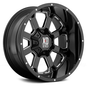 20x10 Xd 825 Buck Wheels Black Milled Rims Fit 6lug Chevy Silverado Gmc Ford