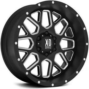 20x10 Xd 820 Grenade Wheels Black Milled Rims Fit 6lug Chevy Silverado Tahoe Gmc