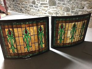Antique American Stained Glass Windows Pair