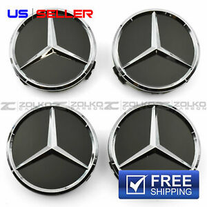 Wheel Center Caps Emblem Black 75mm 4pc Set For Mercedes Benz Amg Ee21 Us Seller
