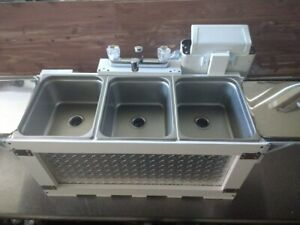L a Qualified Hot Water Portable 3 Compartment Concession Sink Table Top