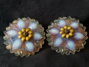 2 Antique Opalescent Glass Curtain Tie Backs W Hardware Red Flash Color Backs 3
