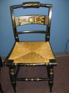 Two Black Hand Painted Hitchcock Chairs Rush Seats Nice Vintage Condition