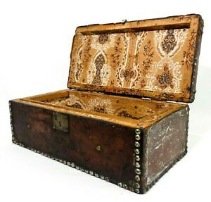 Early Mid 19th C Antique Leather Wrapped Studded Wallpaper Lined Sm Wood Trunk