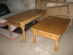 Antique English Pine Farm Dining Table Desk Matching Cocktail Table W Drawer