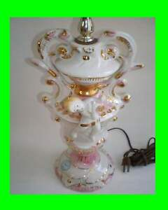 Vintage Azzolin Brothers Porcelain Figural Cherubs Lamps
